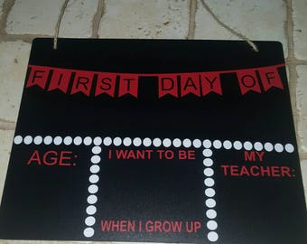 Back to school chalkboard sign - first day of school sign