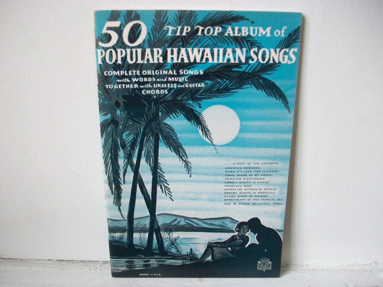 Popular Hawaiian Songs Sheet Music Book Vintage Tip Top Album