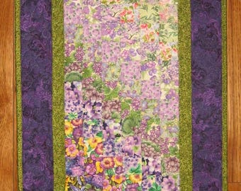 Art Quilt, Purple and Green Shabby Chic Decor, Fabric Wall Hanging, Textile Art Quilt, Home Office Decor, Watercolor Quilt, Handmade