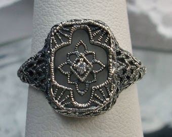 Camphor Glass & CZ Solid Sterling Silver Art Deco Design Filigree Ring Size {Made To Order} #204