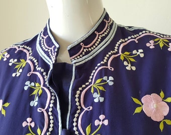 Vintage 1970's Embroidered Chuchi of The Philippines Maxi Caftan Dress