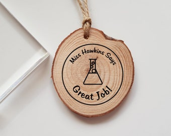 Personalised Teacher Conical Flask Science Rubber Stamp Says Great Job Marking Teacher Gift