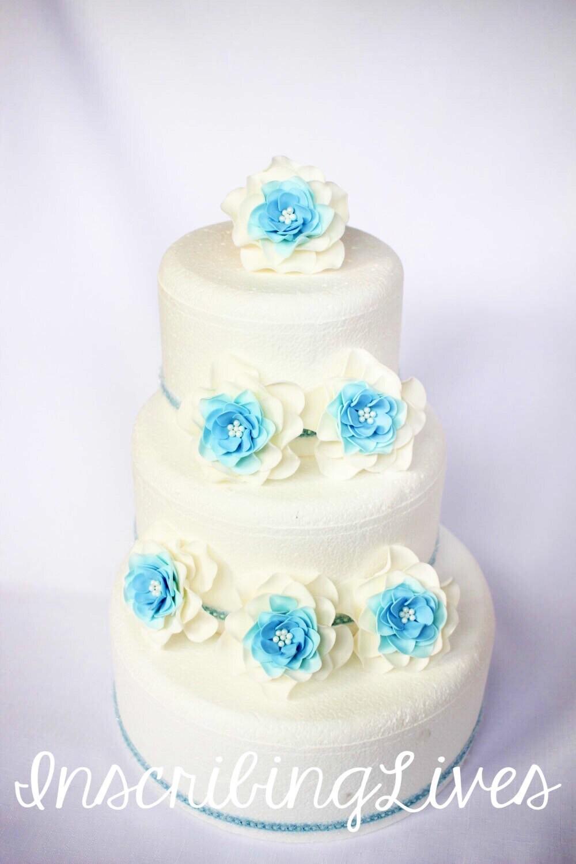 blue wedding cake flowers 6pcs large fondant flowers white