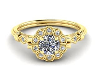 Diamond Engagement Ring, Antique Style, 14K Yellow Gold