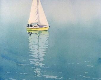 Ocean Artwork, Sailing art PRINT, Watercolor archival print, Sailboat, painting, blue art print, Lake Geneva, Nautical, boat watercolor