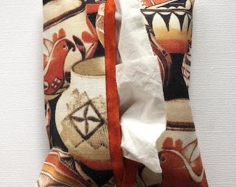 Fabric Purse Tissue Holder- Southwest Pottery Fabric- Pocket Tissue Holder- Tissue Case- Handmade- Travel Tissue Holder- Tissue Packet Case