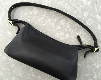 Vintage Coach Purse - Black Leather Small Shoulder Bag