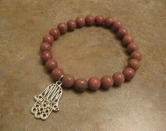 hamsa bracelet, rhodonite bracelet, hamsa jewelry, rhodonite jewelry, hamsa hand bracelet, hamsa hand pendant, hamsa charm bracelet