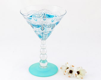 Cocktail glass, Martini, Boho, Bohemian, Mandala, Hand painted, OOAK, Unique, Turquoise, One of a kind hand painted glass