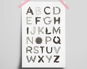 Cactus & Succulent Alphabet 18x24 Art Print