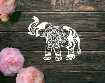 Elephant Mandala Decal - Elephant Decal - Yeti Decal - Decal for car - Laptop Decal - Pretty Decal