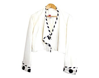 cropped silk jacket- vintage boxy fit with striped and polka dot detail in black and white from the 1980s