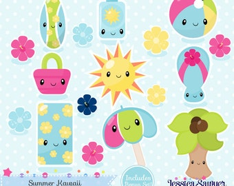 INSTANT DOWNLOAD - Summer Kawaii Clipart or beach kawaii clip art for personal and commercial use