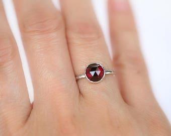 Silver Garnet Ring   Sterling Silver Garnet Ring   Recycled Sterling Silver Red Garnet Ring   Size 5.5 IN STOCK   Rose Cut Garnet Ring