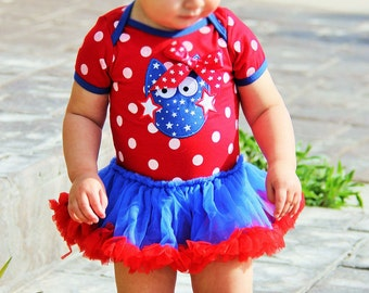 Polka dot owl tutu onesie with polka dot knotted headband