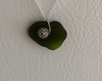 Dark Green SeaGlass Heart Shape