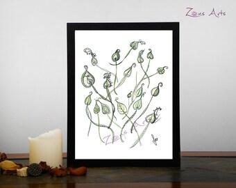 Leaf print,  8 x 10, 8-5 x 11 L'ENVOLÉE De Feuilles, Art print, Zen illustration green leafs, several formats.