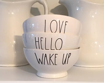 """Set 3 RAE DUNN BOWLS • """"Wake Up,"""" """"Hello,""""  """"Love"""" • White Interiors • Cereal or Snack Bowls!"""