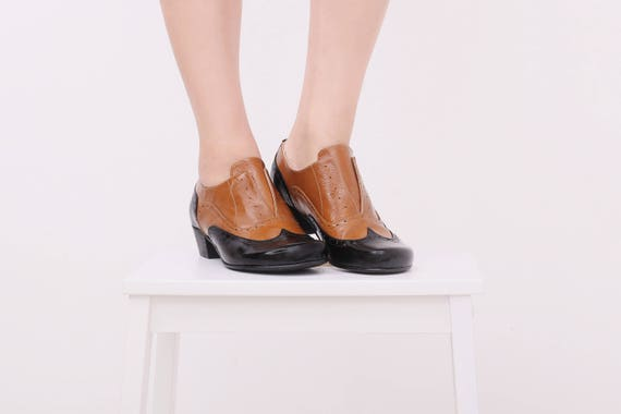oxford patent oxfords Black womens ADIKILAV heels shoes camel and Leather handmade gwtZEy