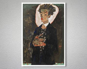 Self Portrait by Egon Schiele - Poster Paper, Sticker or Canvas Print / Gift Idea