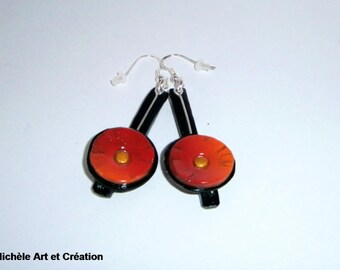 long earrings red and black polymer clay