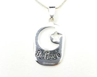 Vintage Sterling Silver Believe with Cutout Crescent Moon & Star Rectangle Pendant Necklace- 16 Inch Box Chain