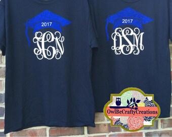 Graduation cap monogram tshirt