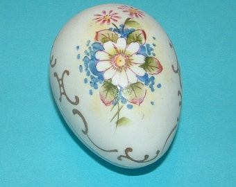 Handpainted Floral with 24k gold Swirls Porcelain Egg shaped Trinket Box