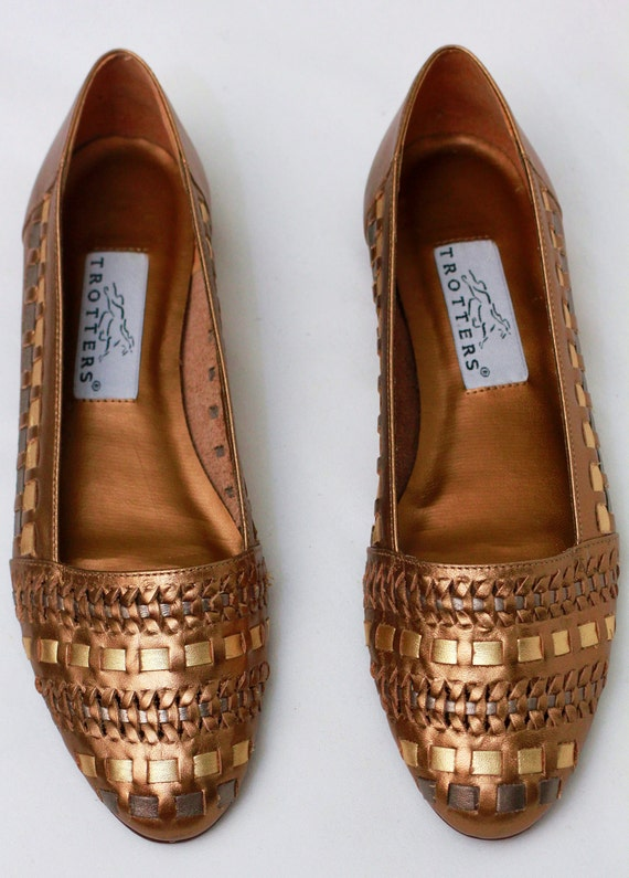 Loafers Never 7 80s Vintage Sz Woven Worn GOLD Leather