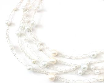 Delicate Layered Necklaces 5 Strand Multi Strand Beaded Necklaces Pearl Necklace Minimalist Perfect Layering Unique Handmade Jewelry