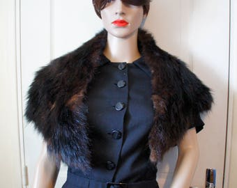 Old fur women scarf vintage 1940's style, ideal for reenactment 39/45.