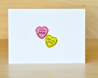 You Snore But It's Cute - cute greeting card - hand drawn illustration - watercolor - love, romance, crush, Valentine's Day, unique