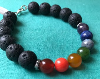 Aroma Therapy Lava Diffuser and Essential Oil Bracelet, Chakra Bracelet, crystal healing, aromatherapy, lava stone, minimalist, diffuser