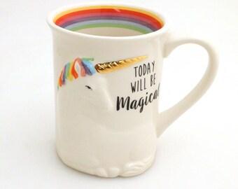 Unicorn mug with metallic gold horn large mug with rainbow and 3D unicorn, believe in yourself