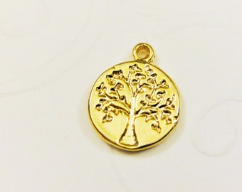 Vermeil,18k gold over 925 sterling silver tree of life charm, shiny vermeil tree of life,tree of life,life tree, family tree