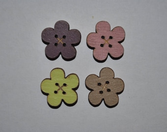 set of 4 buttons wood flower child/baby/sewing/scrapbooking/deco 61