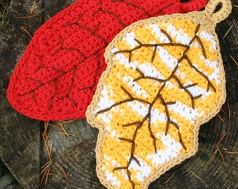 Falling Leaves Autumn Thanksgiving Fall Seasonal Kitchen Potholder Hotpad Crochet Pattern