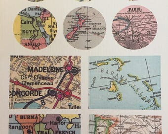 Vintage World Map Stickers, Set of 10