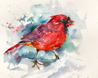 """Original watercolor painting-""""Portrait of a red cardinal in winter"""" free shipping (watercolor feathers painting bird bird)"""