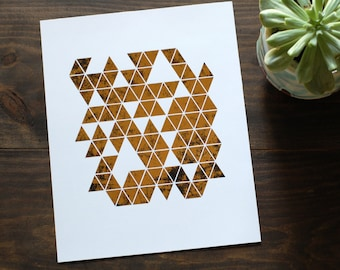 Distressed Geo Triangle Gold Foil Print // Modern Triangle Wall Art // Weathered Gold Foiled Contemporary Abstract Wall Art