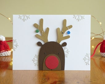 Reindeer Christmas Card // Handmade Greetings Card // Holiday Card // Papercut // Papercraft // Handcrafted // Handcut