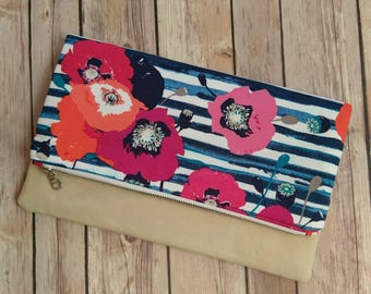 Vibrant Fold Over Poppy Clutch Purse, Folded Clutch Purse, Poppy Clutch, Foldover evening bag