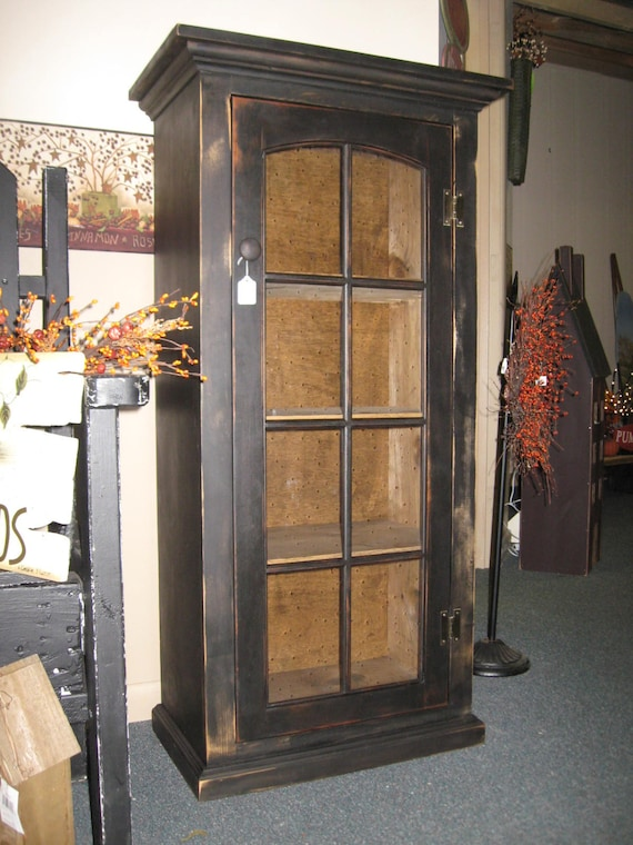 Primitive Cabinet With Glass Door