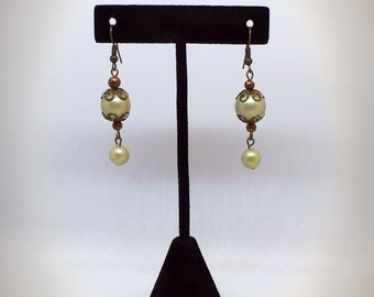 Upcycled Faux Pearls Earrings Antiqued Gold