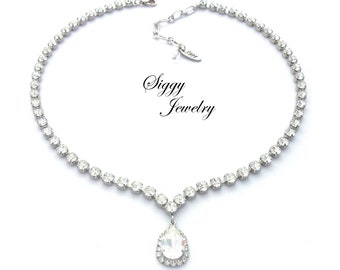 Swarovski Crystal V Shape Bridal Necklace With Halo Pear Pendant, Diamond-Like Shimmering Clear 5mm Crystals, BRIDAL PRINCESS, Gift Packaged