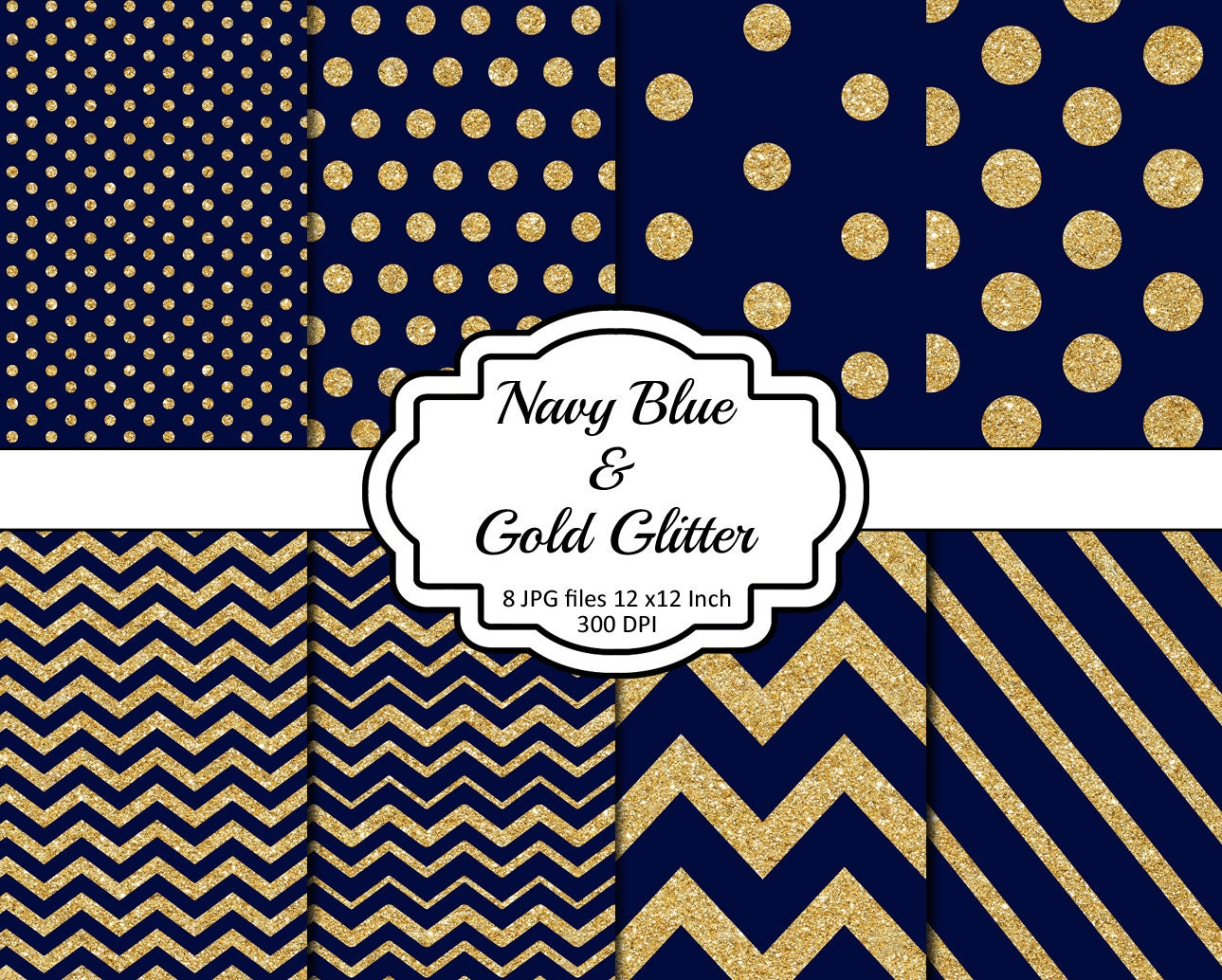 Navy blue and gold glitter chevron stripes polka dots for Striped and polka dot pumpkins