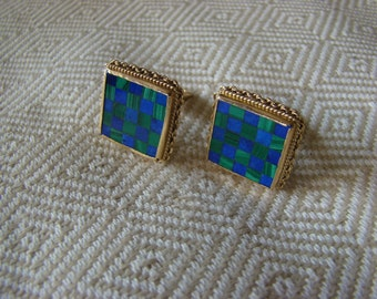 Vintage Checkerboard cufflinks lapiz and malachite 14k Gold