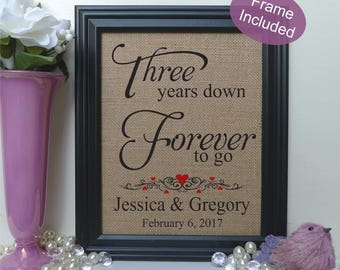 FRAMED Personalized 3rd Anniversary Gift/3 years of marriage/3rd Wedding Anniversary Gift/3rd Anniversary gift for Wife / Husband (206-3)