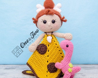 Cyra the Cavegirl and Dixie the Dino Lovey / Security Blanket - PDF Crochet Pattern - Instant Download - Blankie Baby Blanket