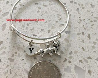 Fox initial bangle, fox jewelry, woodland jewelry, fairy tale bracelet, silver fox, running fox jewelry, forest jewelry